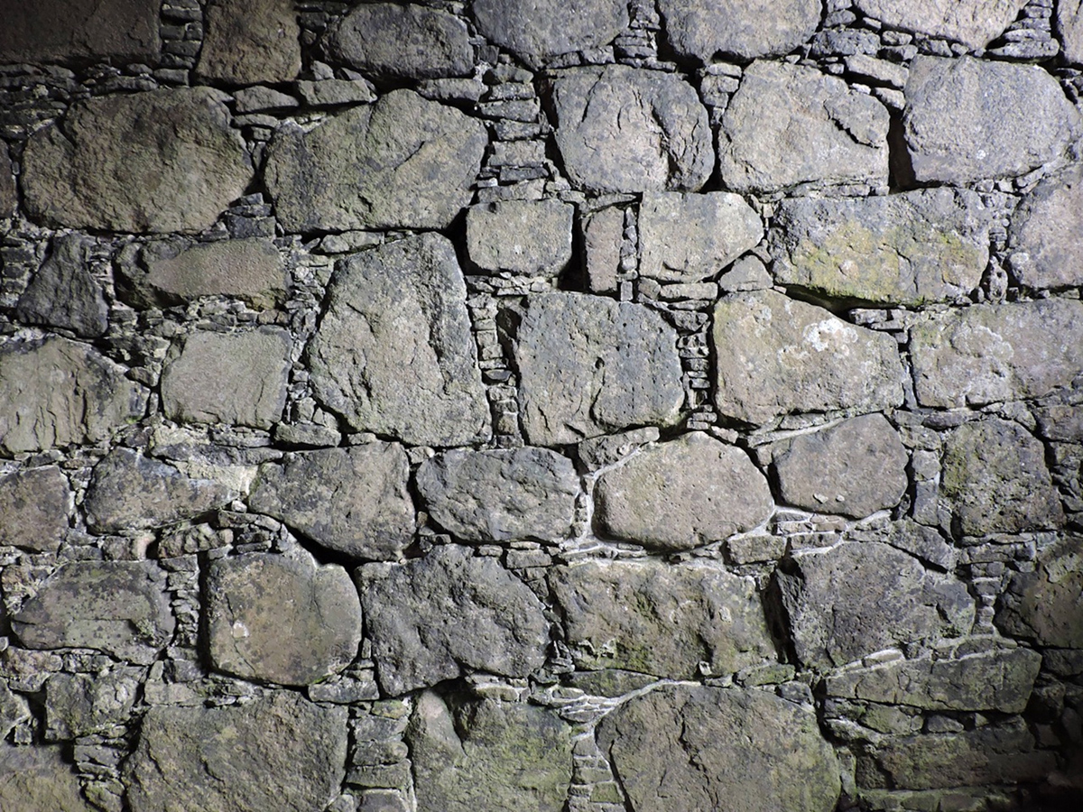 Faroe Islands walls, mortared together with lime mortar made from shell sand