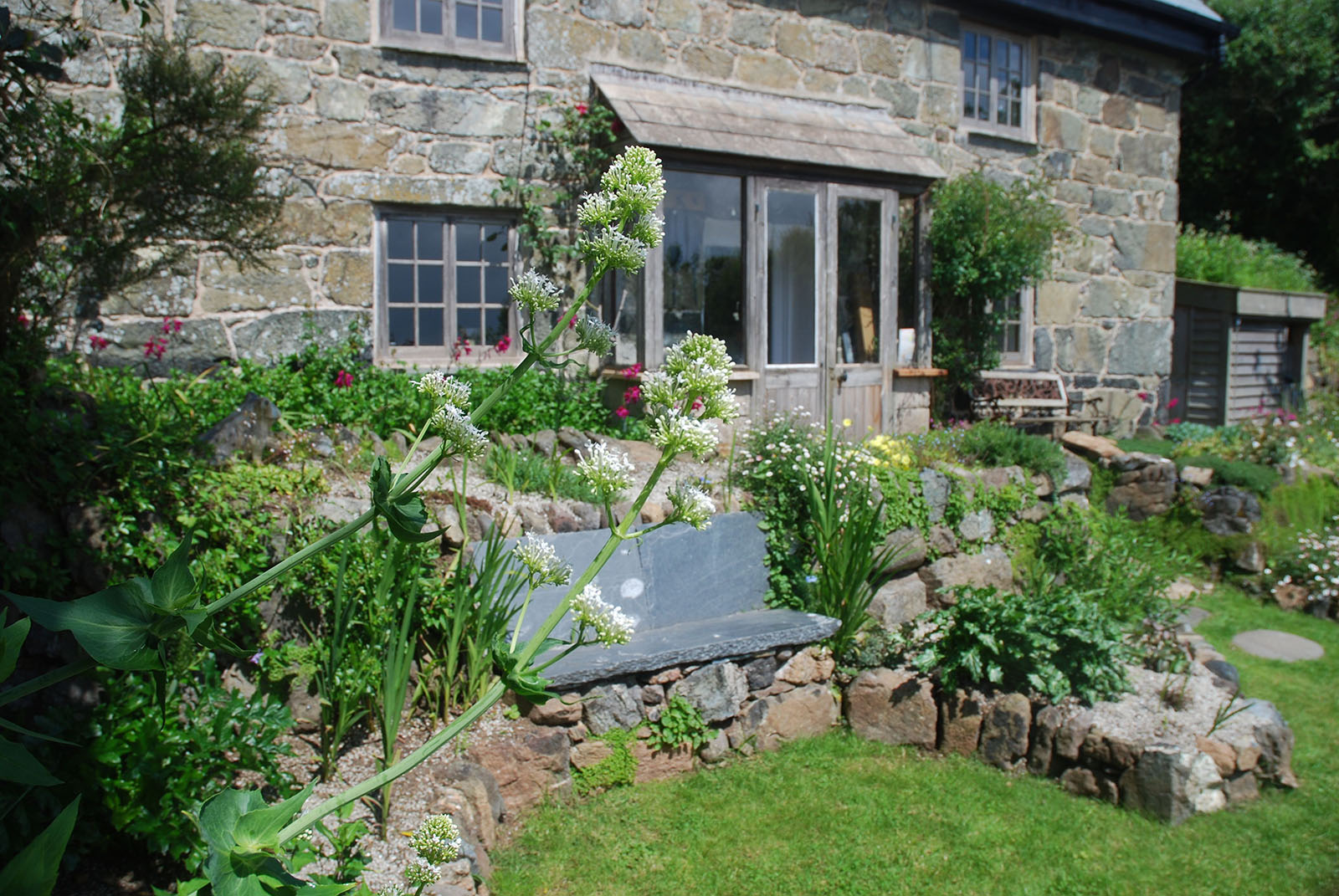 Coverack Cottage Garden made with local granite, slate and serpentine