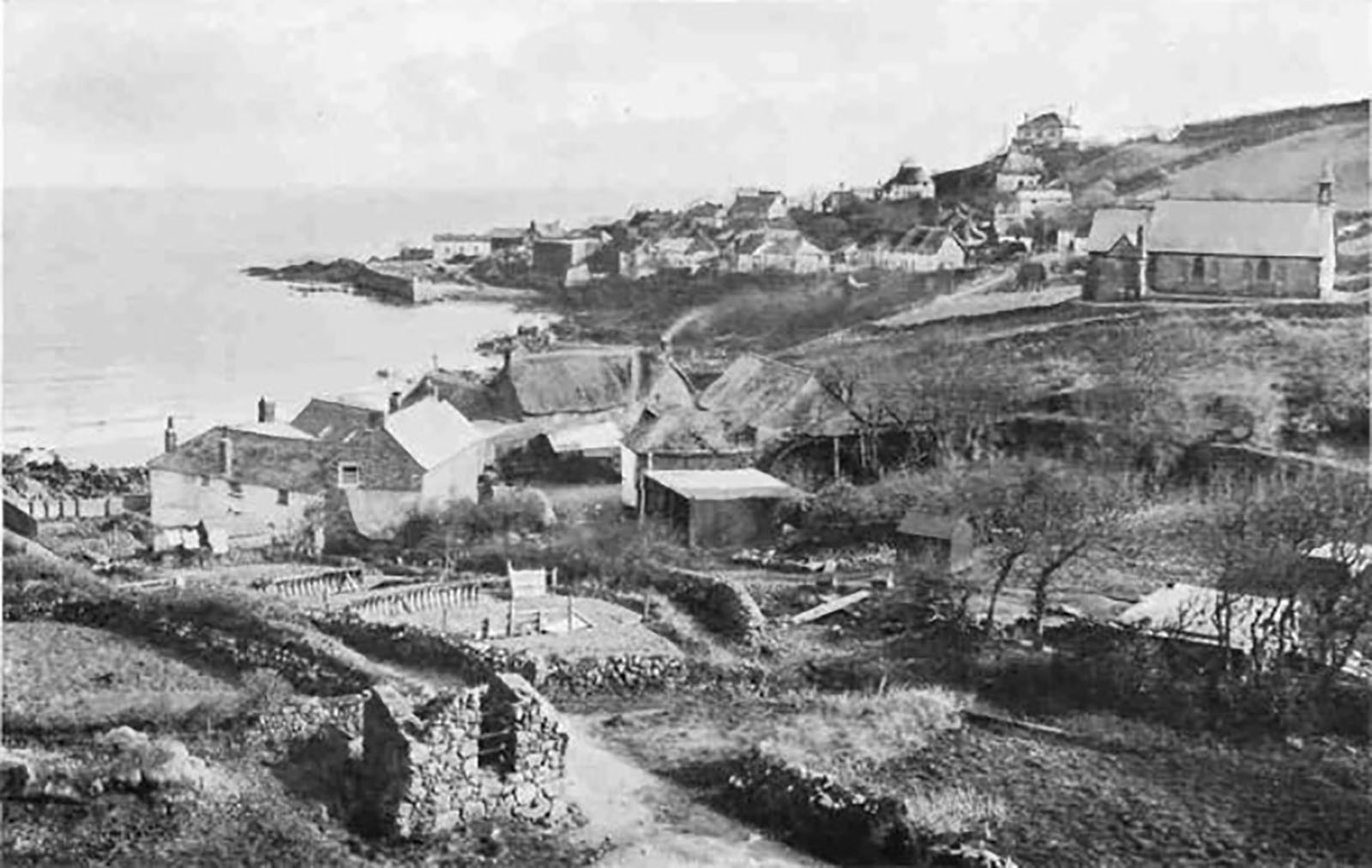Historic picture of Coverack village Cornwall